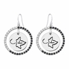 Alpha Phi Ivy Leaf Black and White CZ Circle Earrings
