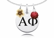 Alpha Phi Necklace with Flower and Crystal Ball Accents