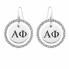 Alpha Phi White CZ Circle Earrings