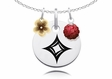 Alpha Sigma Alpha Necklace with Flower and Crystal Ball Accents