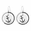 Alpha Sigma Tau Anchor Black and White CZ Circle Earrings