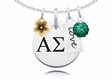 Alpha Sigma Tau Cluster Necklace With Flower, Color and Love