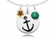 Alpha Sigma Tau Necklace with Flower and Crystal Ball Accents