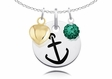Alpha Sigma Tau Necklace with Heart and Crystal Ball Accents