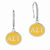 Alpha Sigma Tau Sterling Silver and CZ Drop Earrings