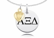 Alpha Xi Delta Necklace With Gold Heart Charm Accent