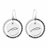 Alpha Xi Delta Quill Black and White CZ Circle Earrings