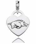 Arkansas Engraved Heart Dangle Charm
