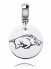 Arkansas Engraved Round Dangle Charm