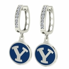 Brigham Young BYU CZ Hoop Earrings