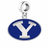 Brigham Young Cougars Silver Logo and School Color Drop Charm