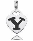 Brigham Young Engraved Heart Dangle Charm
