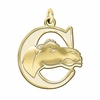 Campbell Fighting Camels 14K Yellow Gold Natural Finish Cut Out Logo Charm