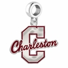 Charleston Cougars Silver Logo and School Color Drop Charm