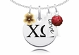 Chi Omega Cluster Necklace With Flower, Color and Love