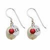 Chi Omega Color and Cultured Freshwater Pearl Earrings
