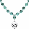 Chi Omega Heart and Turquoise Necklace