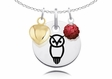 Chi Omega Necklace with Heart and Crystal Ball Accent
