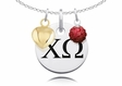 Chi Omega Necklace with Heart and Crystal Ball Accents