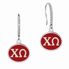 Chi Omega Sterling Silver and CZ Drop Earrings