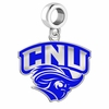 Christopher Newport Captains Silver Logo and School Color Drop Charm