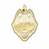 Connecticut Huskies 14K Yellow Gold Natural Finish Cut Out Logo Charm