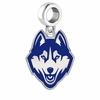 Connecticut Huskies Silver Logo and School Color Drop Charm