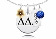 Delta Delta Delta Cluster Necklace With Flower, Color and Love