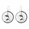 Delta Delta Delta Dolphin Black and White CZ Circle Earrings