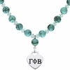 Gamma Phi Beta Heart and Turquoise Necklace