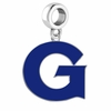 Georgetown Hoyas Silver Logo and School Color Drop Charm