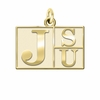 Jackson State Tigers 14K Yellow Gold Natural Finish Cut Out Logo Charm