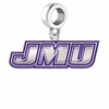 James Madison Dukes Silver Logo and School Color Drop Charm
