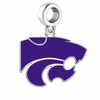 Kansas State Wildcats Silver Logo and School Color Drop Charm