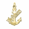Lake Superior State Lakers 14K Yellow Gold Natural Finish Cut Out Logo Charm
