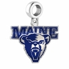 Maine Black Bears Silver Logo and School Color Drop Charm