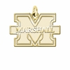 Marshall Thundering Herd 14K Yellow Gold Natural Finish Cut Out Logo Charm