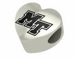 Middle Tennessee State Blue Raiders Heart Shape Bead