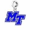 Middle Tennessee State Blue Raiders Silver Logo and School Color Drop Charm