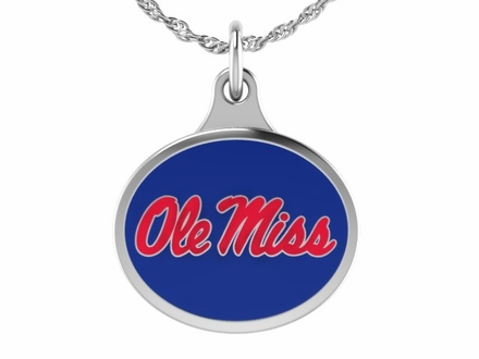 Mississippi OLE MISS Silver Enamel Charm