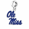 Mississippi Rebels Silver Logo and School Color Drop Charm
