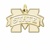 Mississippi State Bulldogs 14K Yellow Gold Natural Finish Cut Out Logo Charm