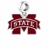 Mississippi State Bulldogs Silver Logo and School Color Drop Charm