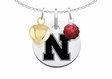 Nebraska Cornhuskers Necklace with Heart and Crystal Accents