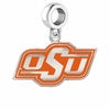 Oklahoma State Cowboys Silver Logo and School Color Drop Charm