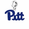 Pittsburgh Panthers Silver Logo and School Color Drop Charm