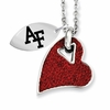 Red Crystal and Stainless Heart Necklace