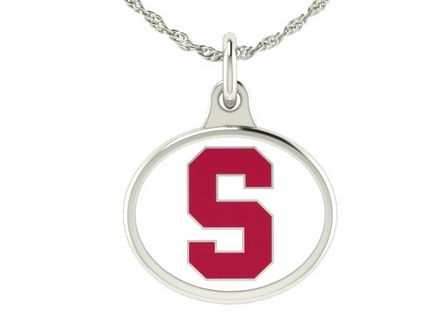 Stanford Cardinals Silver Enamel Charm