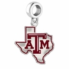 Texas A&M Aggies Silver Logo and School Color Drop Charm