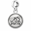 Texas Christian Horned Frogs Border Round Dangle Charm